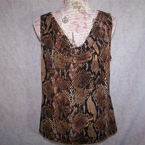 ELLEN TRACY Shirt Top L Cowl Neck Sleeveless